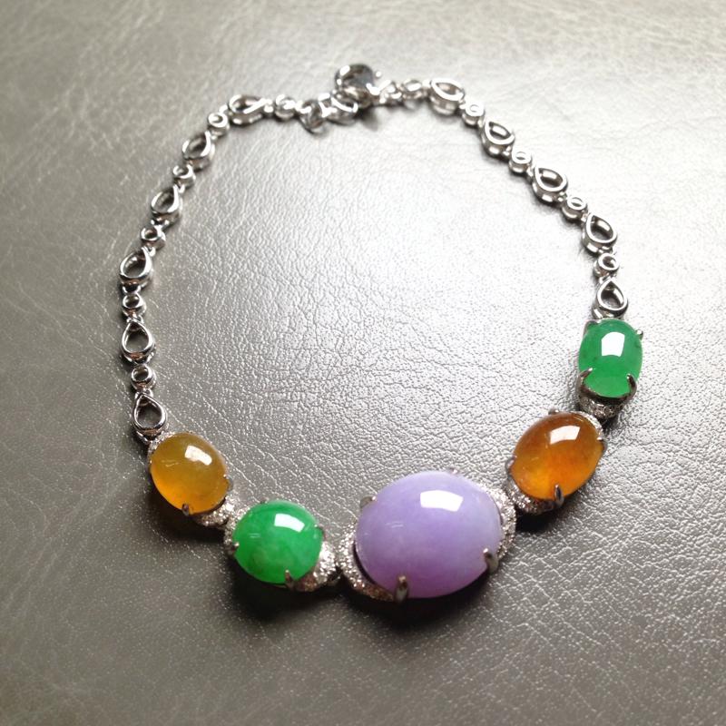 五彩特色手链,紫裸石12.5*10.5*5.5 绿8.5*6*3.5 黄9*7*4 18k金钻镶嵌,