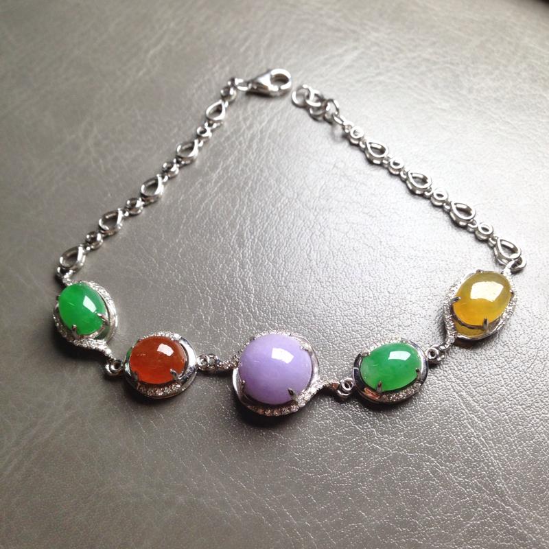 五彩特色手链,紫裸石10*10*5.5 绿8*6*3.5 黄9*6.5*3 18k金钻镶嵌,蛋面圆润