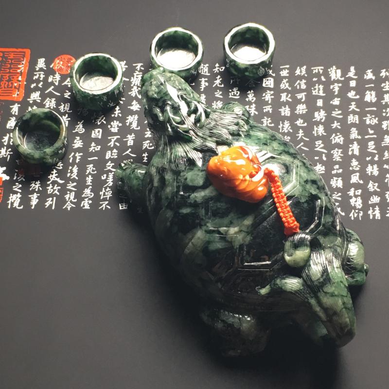 飘花龙头龟/福在眼前茶具套装摆件 茶壶尺寸139.2-73-55.3毫米 茶杯尺寸13.8-25.8