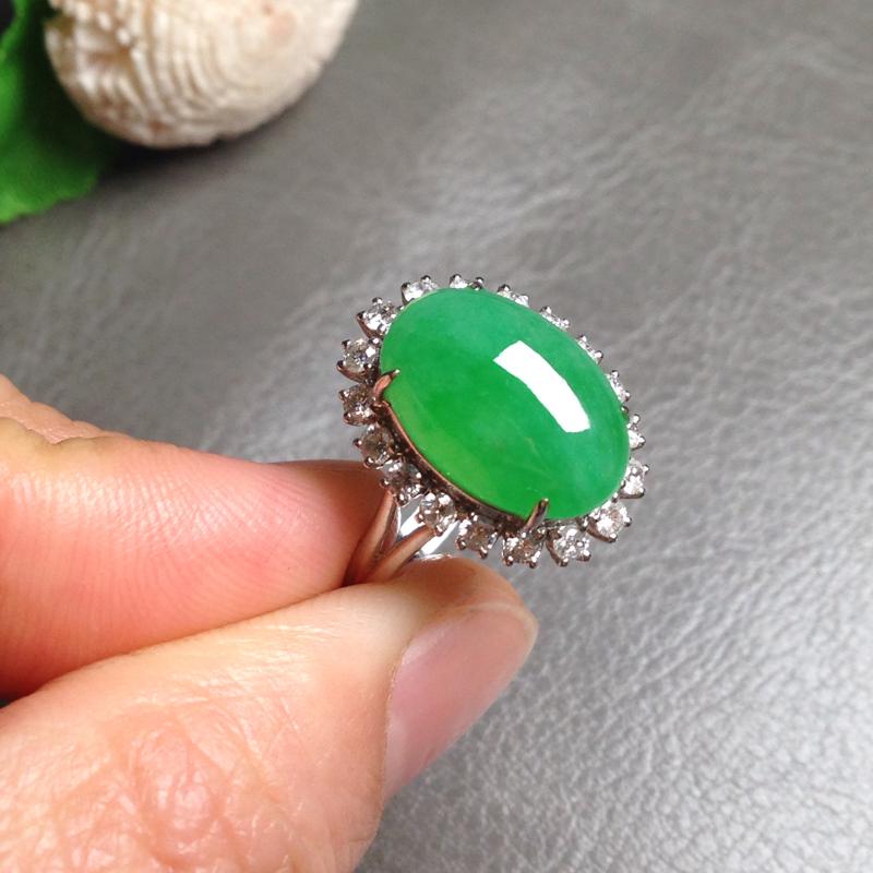 【满绿女戒】尺寸14.5*10*4.5 戒圈14 18k金钻豪华镶嵌,料子细腻通透,个头大圆润饱满,