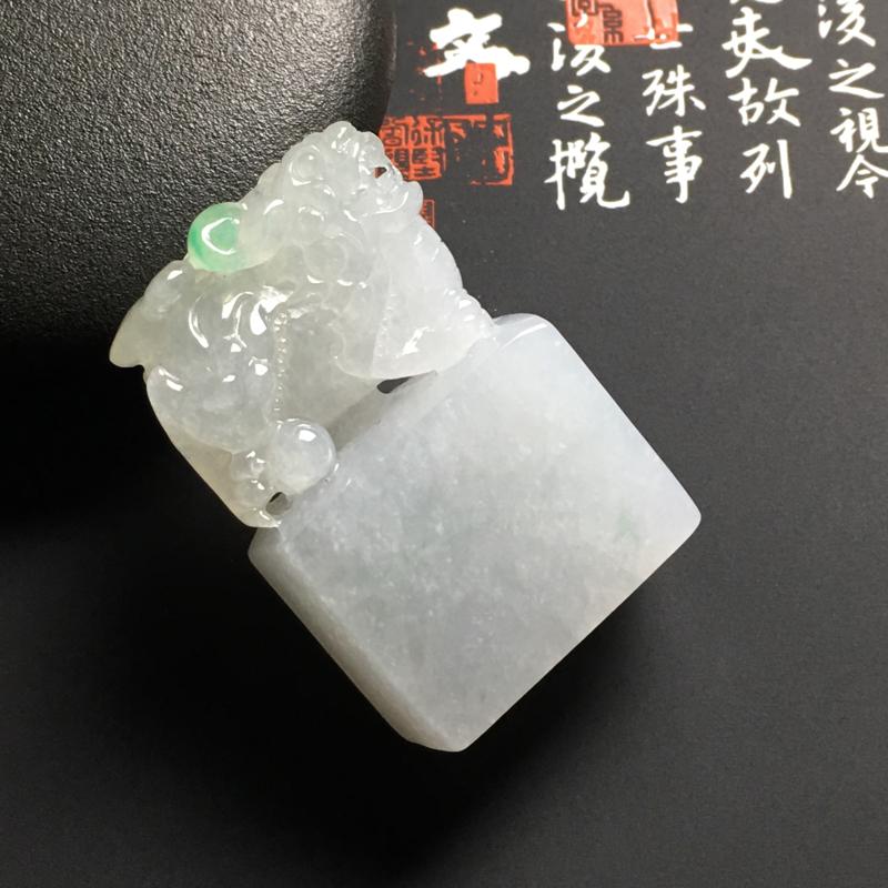 冰糯种黄加绿招财貔貅印章 尺寸40.7-27.4-14.4毫米 水润冰透 雕工精美