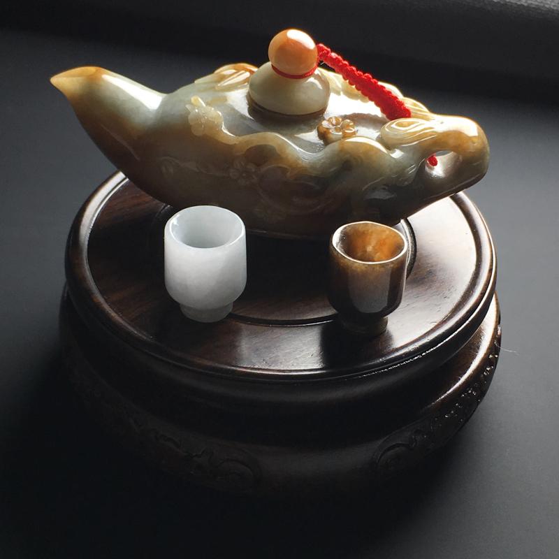 【【黄翡茶壶精美摆件】茶壶尺寸94-35-44毫米 茶杯尺寸19-16毫米】图8