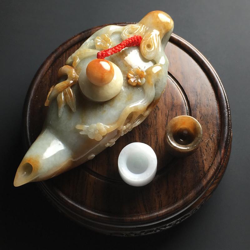 【【黄翡茶壶精美摆件】茶壶尺寸94-35-44毫米 茶杯尺寸19-16毫米】图7