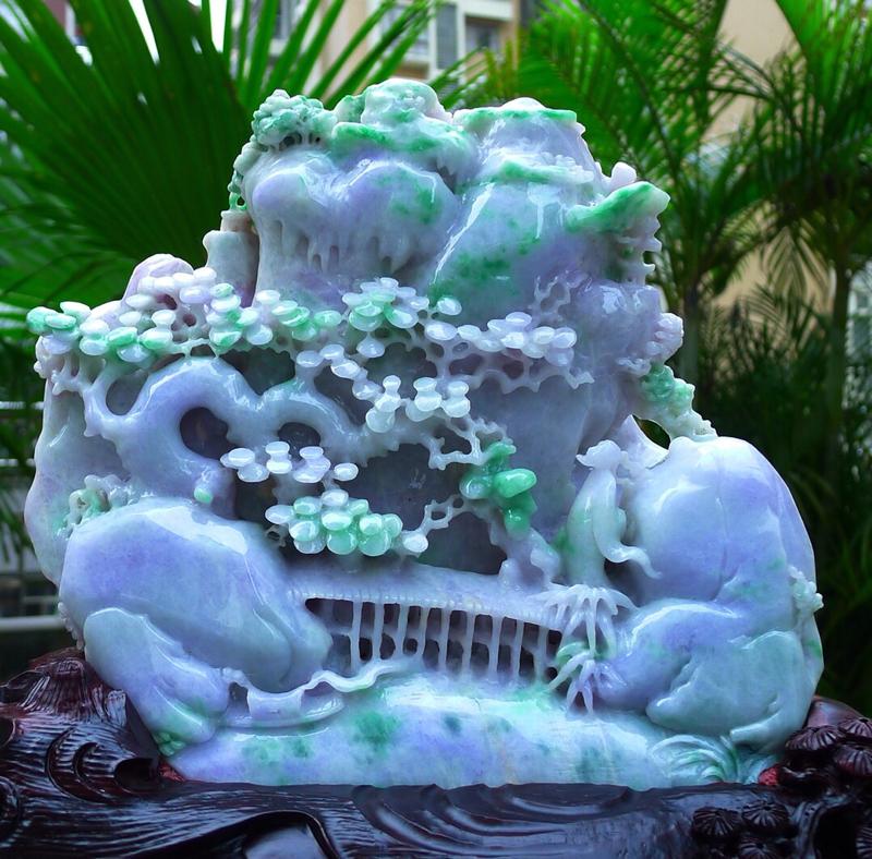 大件山水摆件  缅甸天然翡翠A货 精美 春带彩 高山流水 山水摆件 雕刻精美线条流畅 种水好 层次分