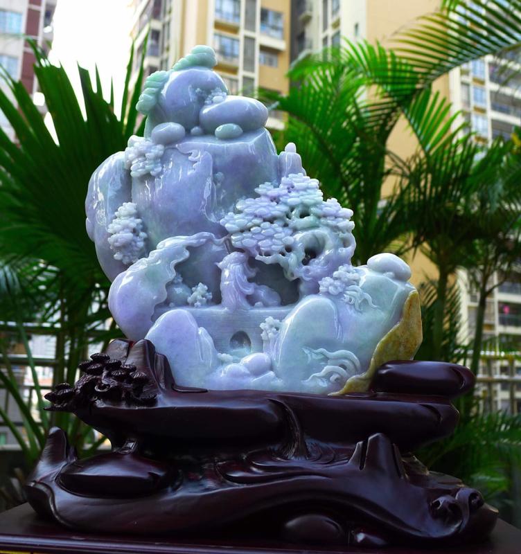 大件春带彩 山水摆件 缅甸天然翡翠A货 精美 飘花 高山流水 山水摆件 雕刻精美线条流畅 种水好 层