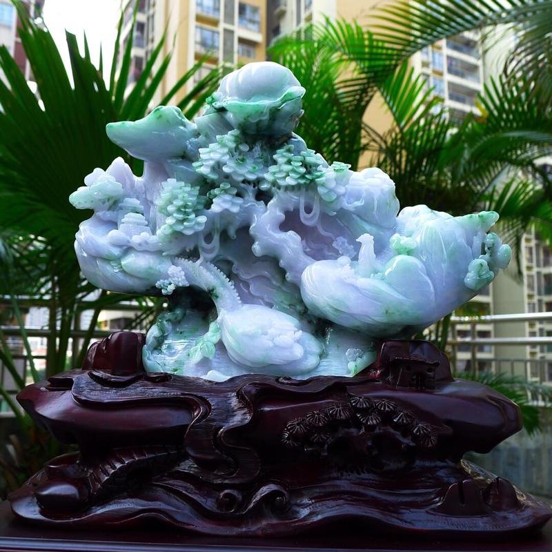 大件飘阳绿 山水摆件 缅甸天然翡翠A货 精美 飘花阳绿  高山流水 山水摆件 雕刻精美线条流畅 种水