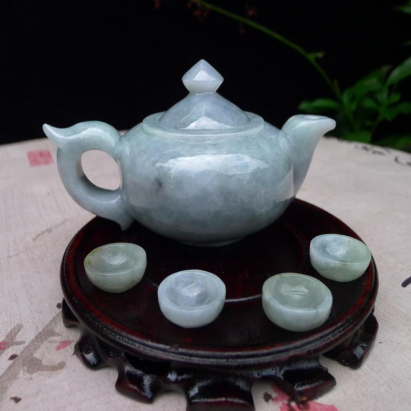 (鸿运当头)翡翠老坑水润特色缕空茶壶茶杯一套小摆件