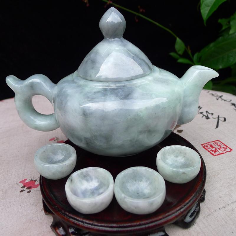 (鸿运当头),翡翠大茶壶套装摆件