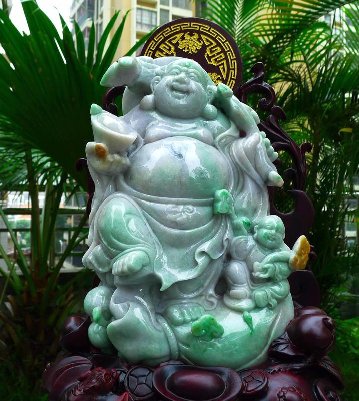 大尊黄加绿 笑口常开 笑佛摆件 缅甸天然翡翠A货 精美 黄加绿色 笑口常开 财源滚滚 笑佛摆件 雕刻