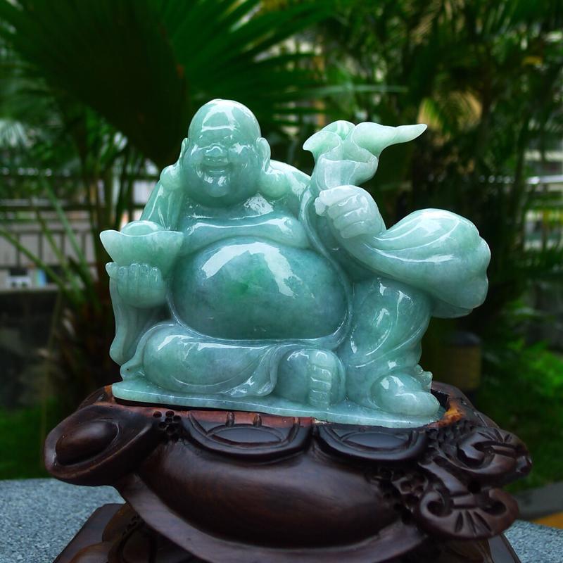 缅甸天然翡翠笑佛摆件 雕工精美 种水好,料子细腻 寓意招财纳福 招财进宝 多子多福 财源广进 笑口常