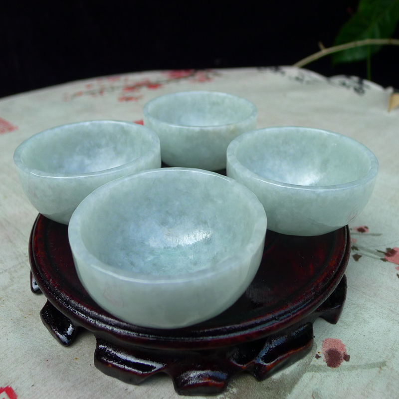 翡翠浅绿水润厚装大气上档次大茶杯,酒杯,四件套