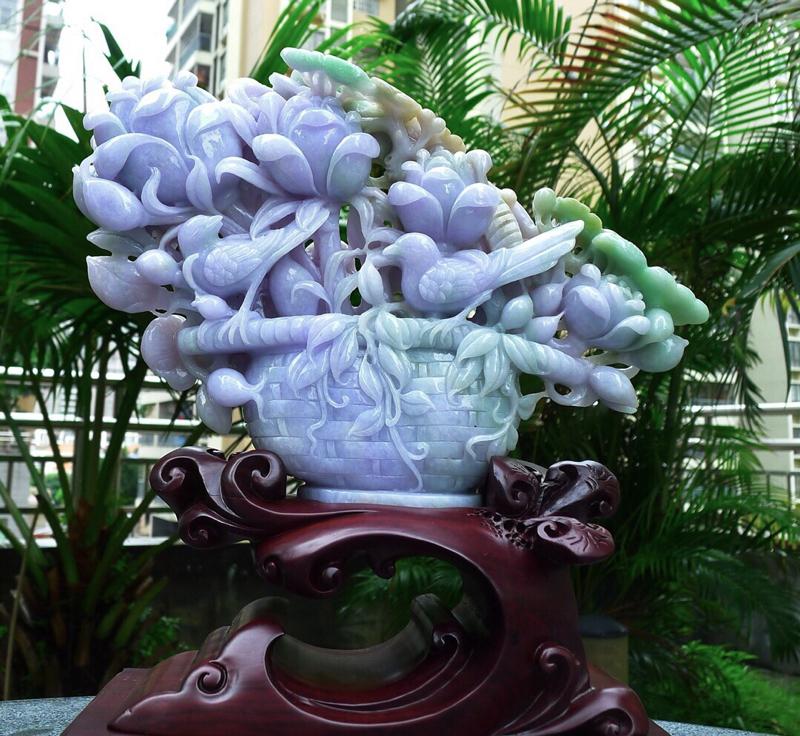 精雕刻三彩 花篮摆件 缅甸天然翡翠A货 精美 三彩 黄加绿 紫罗兰 喜上眉梢 花开富贵 多子多福 好
