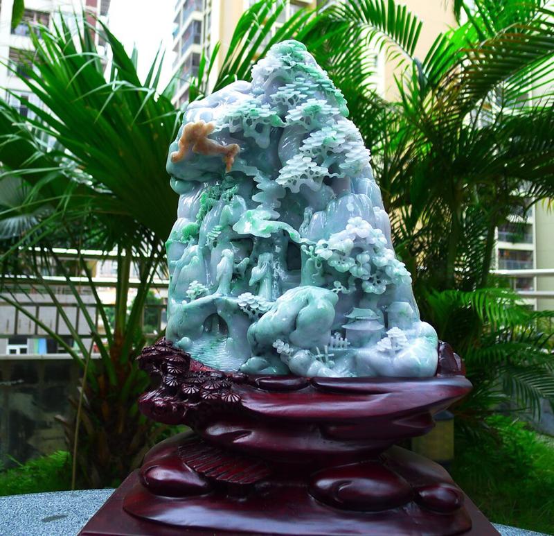 大件山水摆件  缅甸天然翡翠A货 精美 老坑 三彩 高山流水 山水摆件 雕刻精美线条流畅 种水好 层
