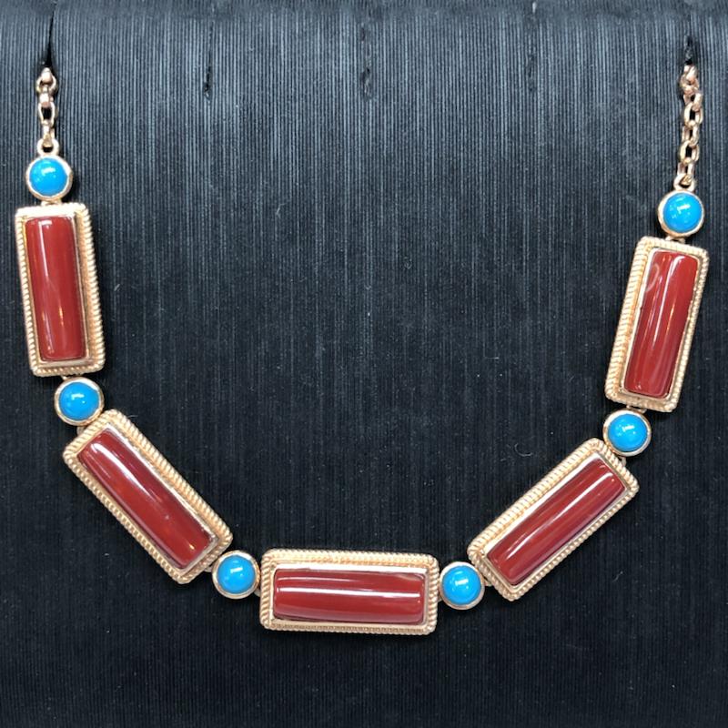 红珊瑚女式手链,日本阿卡材料,深红色,18k真金➕绿松石镶嵌,矩形长度尺寸为13.3mm-12mm,