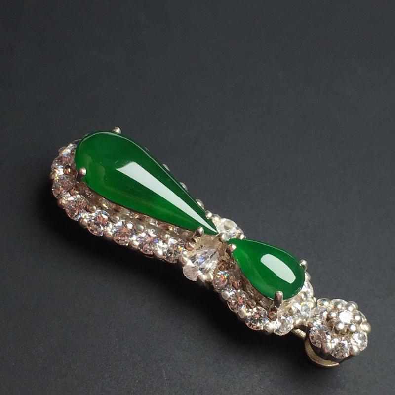 【【满绿水滴戒面】铜托  色泽艳丽  玉质细腻。饱满圆润  品相佳  裸石14-6-3毫米】图6