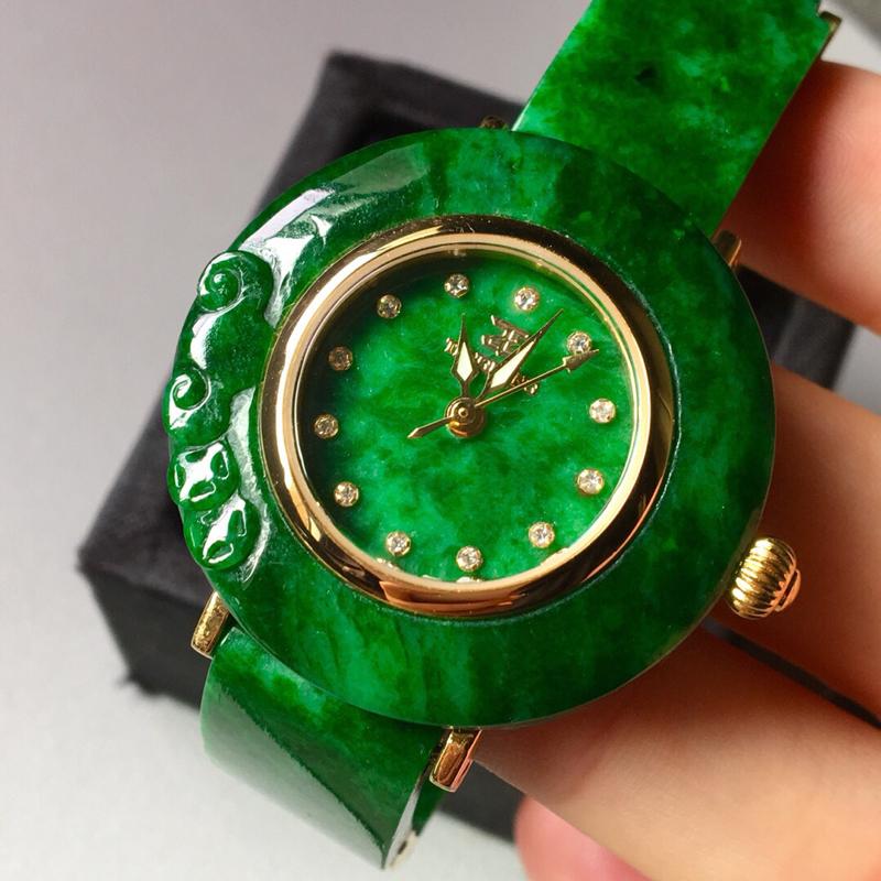 【花青满绿手表。完美。水头足。尺寸31.3/6】图5