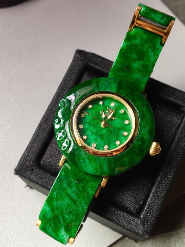 【花青满绿手表。完美。水头足。尺寸31.3/6】图3