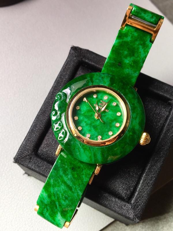 【花青满绿手表。完美。水头足。尺寸31.3/6】图2
