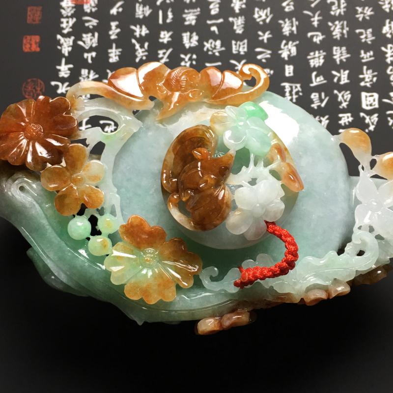 【糯种双彩福在眼前茶壶摆件 尺寸125-62-46毫米 玉质水润 色彩艳丽 雕工精美】图4