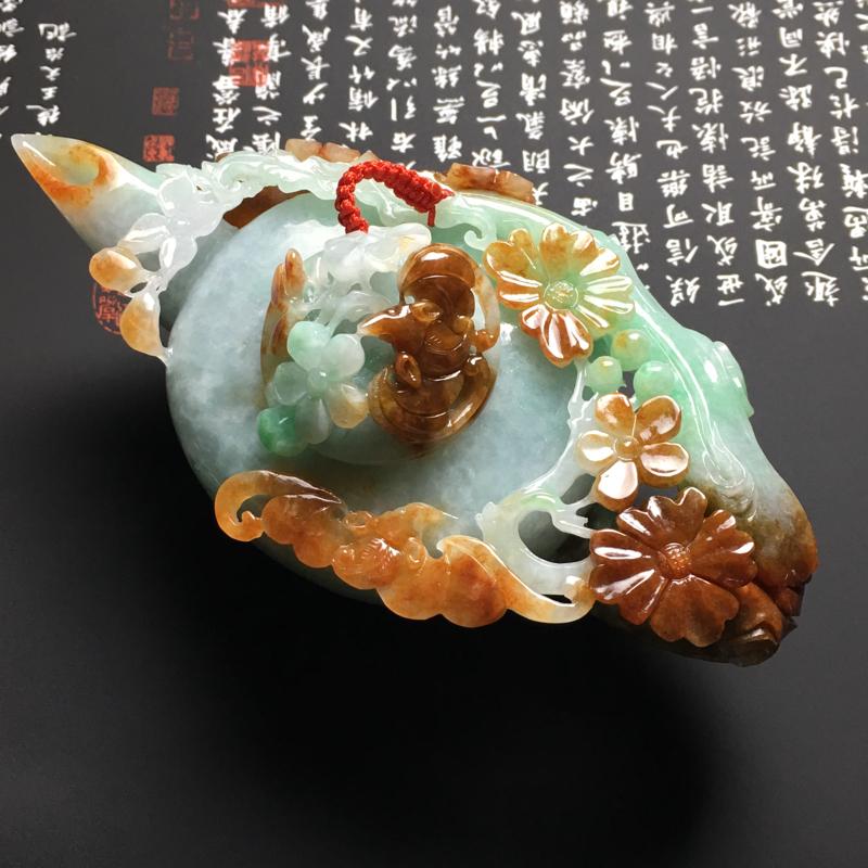 【糯种双彩福在眼前茶壶摆件 尺寸125-62-46毫米 玉质水润 色彩艳丽 雕工精美】图2