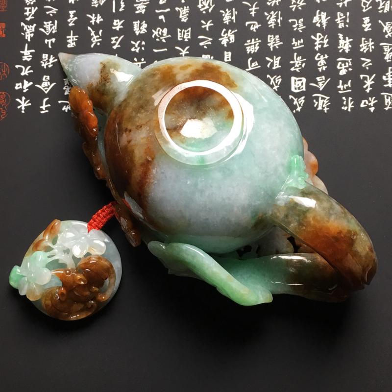 【糯种双彩福在眼前茶壶摆件 尺寸125-62-46毫米 玉质水润 色彩艳丽 雕工精美】图8