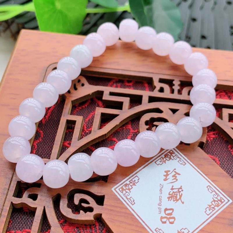 紫罗兰圆珠手链_玉质细腻,水头饱满,形体漂亮,水润精致,上手效果佳,尺寸8.3mm