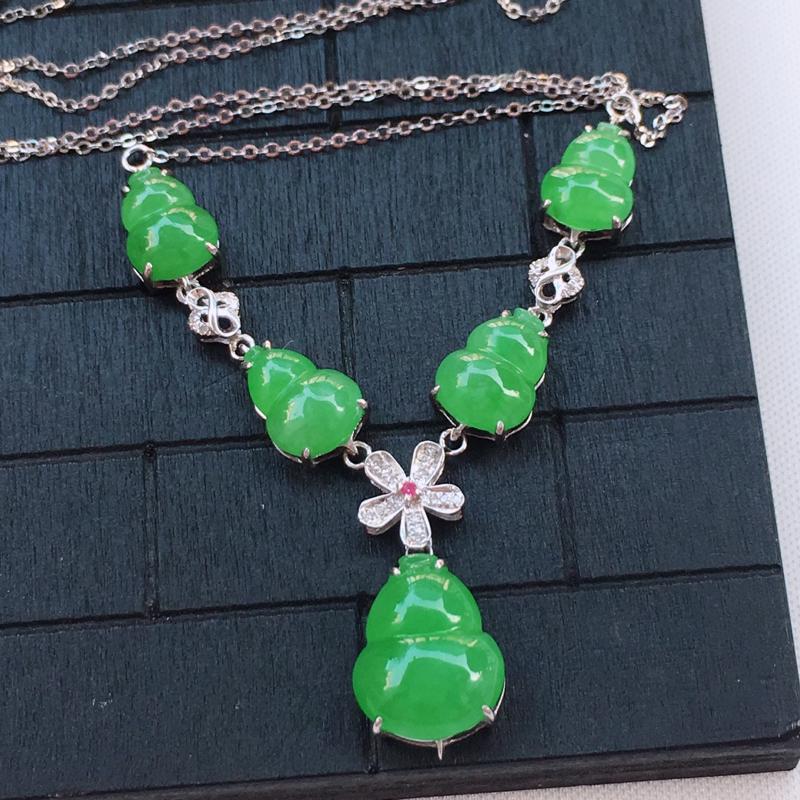 翡翠a货,18K金伴钻冰糯种水润满绿翡翠葫芦晚装项链,玉质细腻,种水一流,底色漂亮,上身高贵,尺寸裸