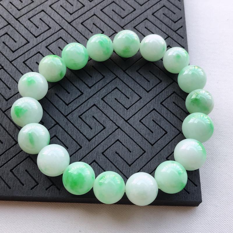 糯种飘阳绿圆珠手串手链,直径11.6,玉质细腻水润,底色漂亮,种水好