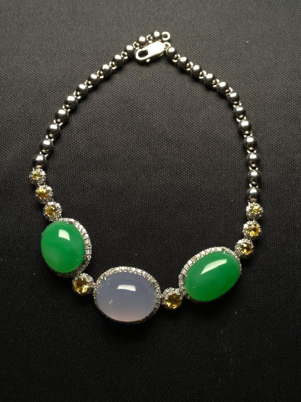 翡翠A货,阳绿/紫罗兰蛋面手链,18K金伴钻镶嵌,完美,种好水足,性价比高。