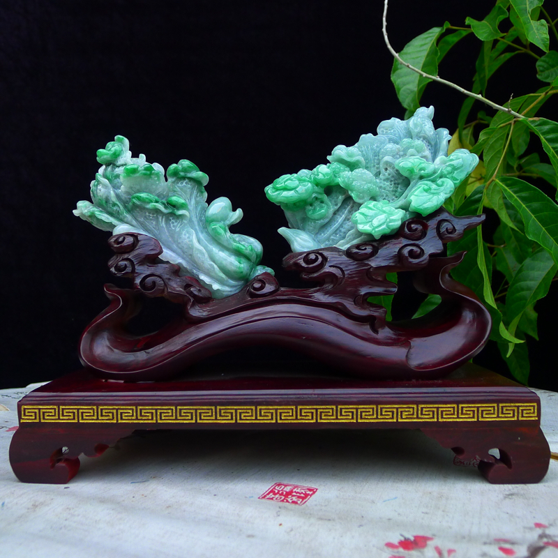 (如意摆财)翡翠老坑水润阳绿精雕人生如意百财精品摆件