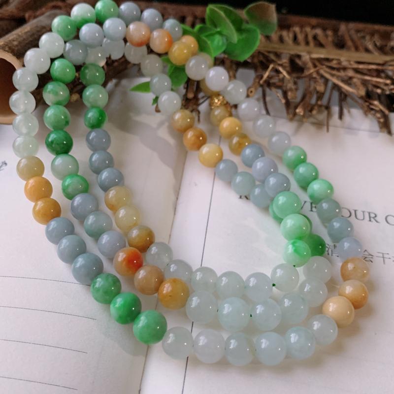天然翡翠A货-三彩圆珠项链_种好,玉质细腻,水头饱满,形体漂亮,水润精致,上身效果佳,尺寸8.3mm