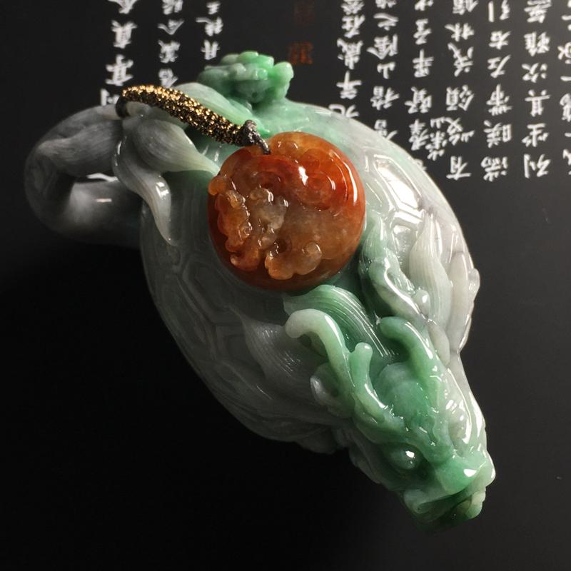 【❤️【糯种双彩龙龟茶壶摆件】尺寸95-56-45毫米 色彩鲜明 雕工精湛】图4