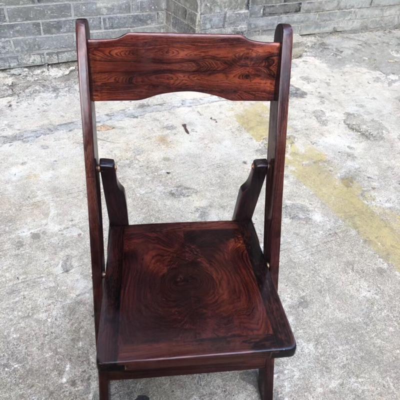 海南黄花梨紫油梨  折叠椅 满鬼脸纹 线条清晰流畅 做工精细 市面上少有的品相 实用 收藏 重5.5