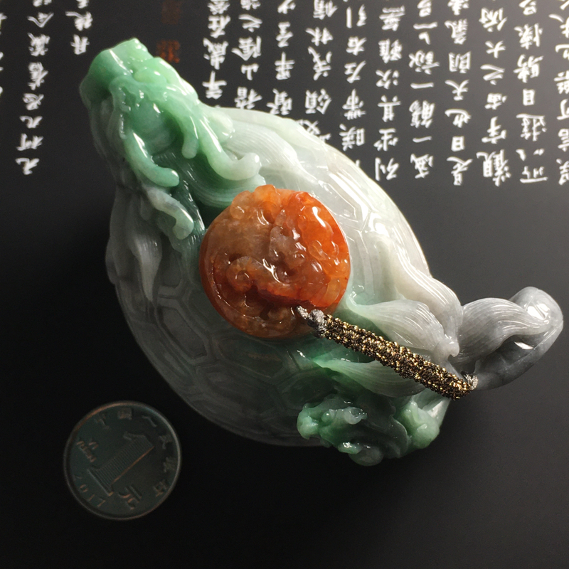 【❤️【糯种双彩龙龟茶壶摆件】尺寸95-56-45毫米 色彩鲜明 雕工精湛】图5