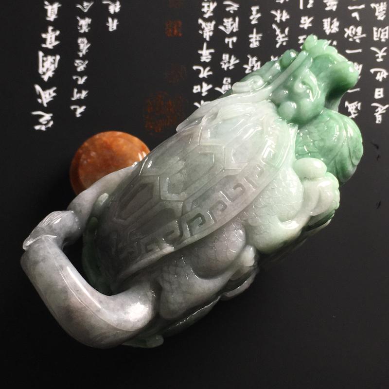 【❤️【糯种双彩龙龟茶壶摆件】尺寸95-56-45毫米 色彩鲜明 雕工精湛】图8