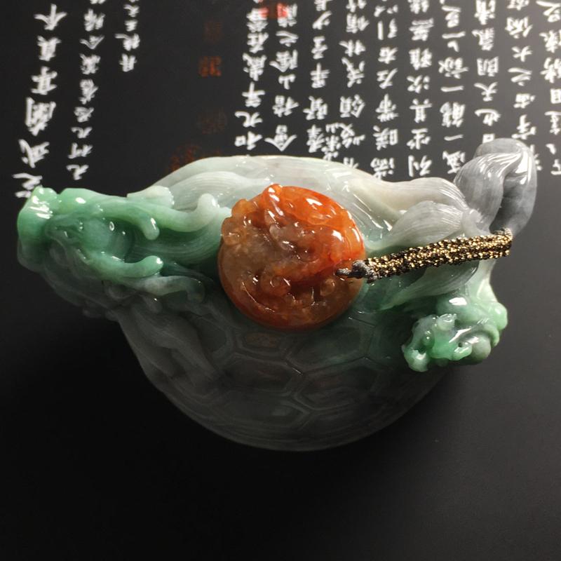 【❤️【糯种双彩龙龟茶壶摆件】尺寸95-56-45毫米 色彩鲜明 雕工精湛】图2