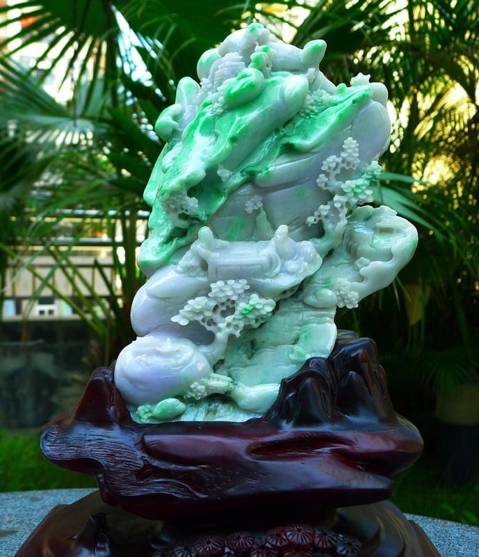 大件飘花山水摆件  缅甸天然翡翠A货 精美 老坑 飘花阳绿 高山流水 山水摆件 雕刻精美线条流畅 种
