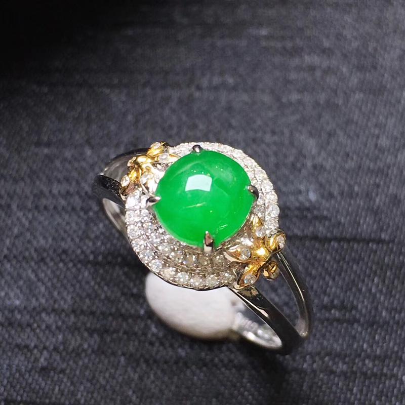 【满绿蛋面戒指💍,18K金伴钻,颜色清爽,佩戴精美,性价比高】图3