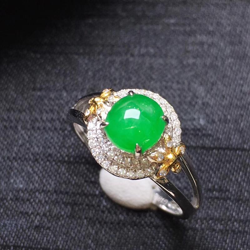 【满绿蛋面戒指💍,18K金伴钻,颜色清爽,佩戴精美,性价比高】图6