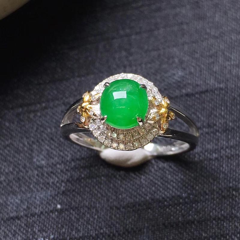 【满绿蛋面戒指💍,18K金伴钻,颜色清爽,佩戴精美,性价比高】图4