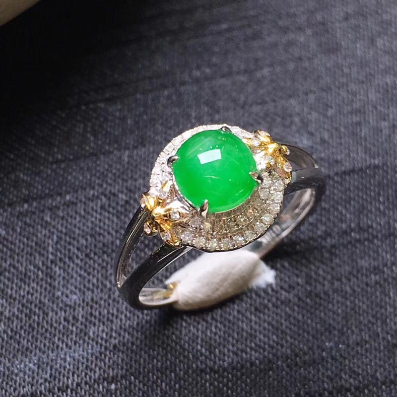 【满绿蛋面戒指💍,18K金伴钻,颜色清爽,佩戴精美,性价比高】图2