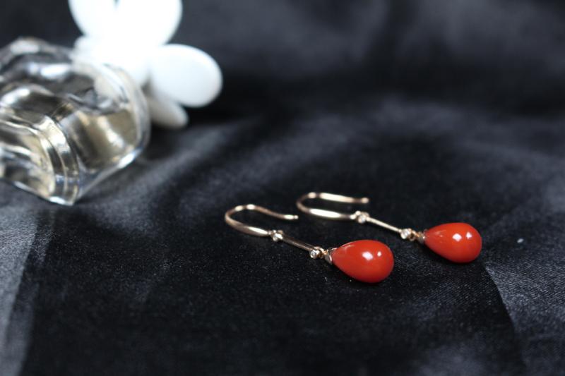 【【耳坠】玫瑰红偏锦红色系水滴耳坠,18k玫瑰金真金真钻镶嵌,竹节设计设计感十足,寓意吉祥,戴上灵动活泼,颜色艳丽出彩,整体无胶无裂无杂。】图5