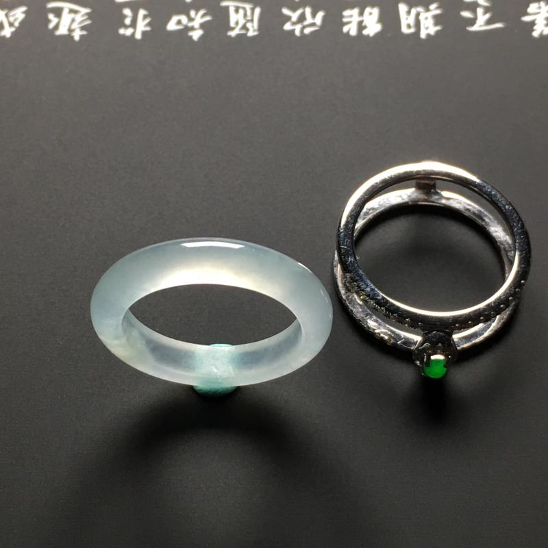 【冰种指环 18K金镶嵌钻石 裸石外径24.7宽4.5厚3.3毫米 内直径18.2毫米 水润通透 质地细腻 款式时尚】图6