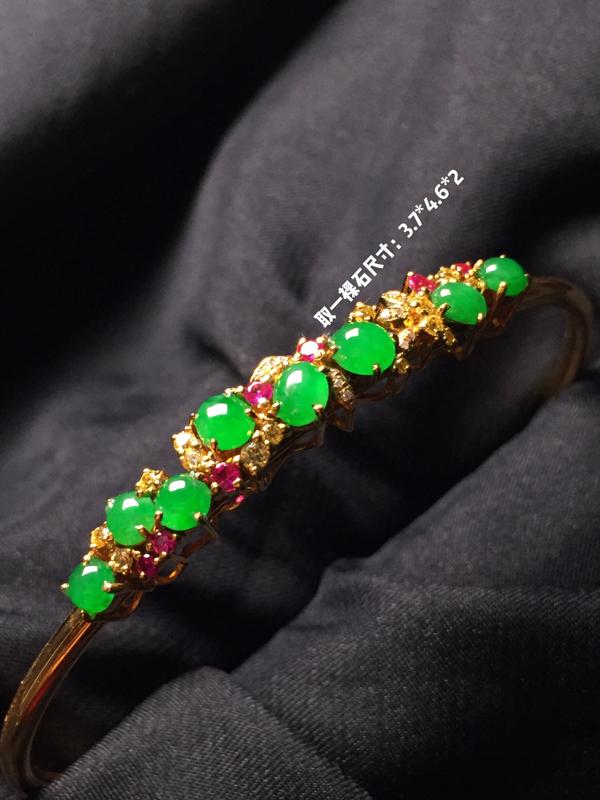 【翡翠A货,阳绿蛋面手环,18k真金真钻镶嵌,完美,种水超好,玉质细腻。】图9