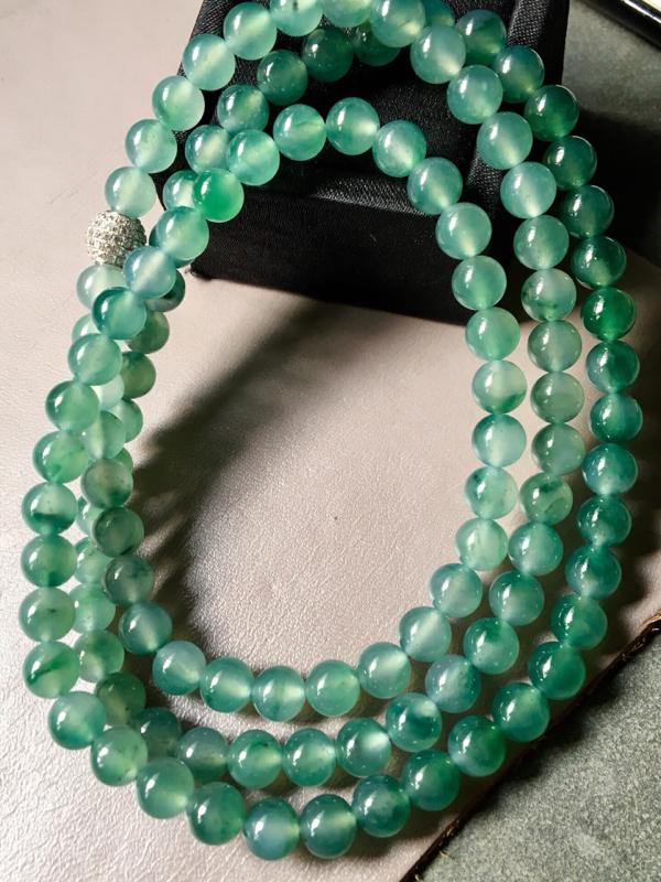 【.冰种飘绿珠链。完美。水头足。尺寸7mm、108颗】图3