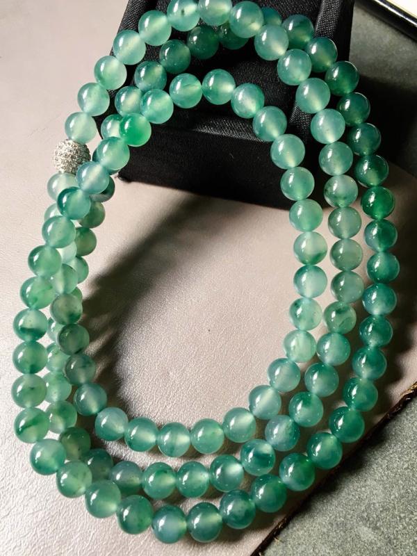 【.冰种飘绿珠链。完美。水头足。尺寸7mm、108颗】图4