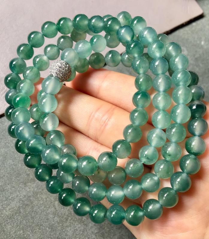 【.冰种飘绿珠链。完美。水头足。尺寸7mm、108颗】图8