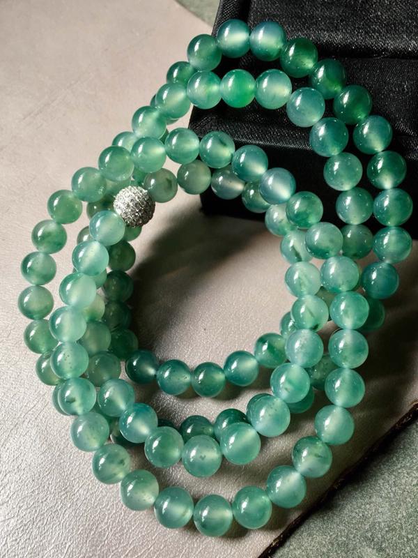 【.冰种飘绿珠链。完美。水头足。尺寸7mm、108颗】图6