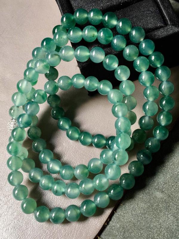 【.冰种飘绿珠链。完美。水头足。尺寸7mm、108颗】图5