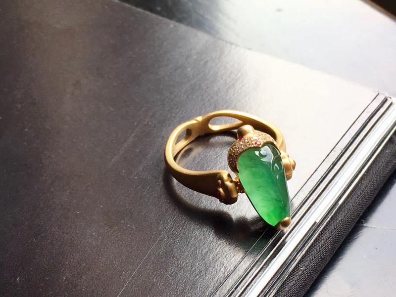 【冰种满色•佛陀】佛陀两用戒指,吊坠!满色飘花,犹如一滩碧波绿水,18k黄金钻石,彩宝镶嵌🍀